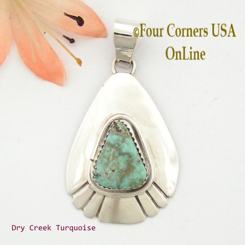Teardrop Dry Creek Turquoise Sterling Pendant Navajo Artisan Alice Johnson NAP-1559 Four Corners USA OnLine Native American Jewelry