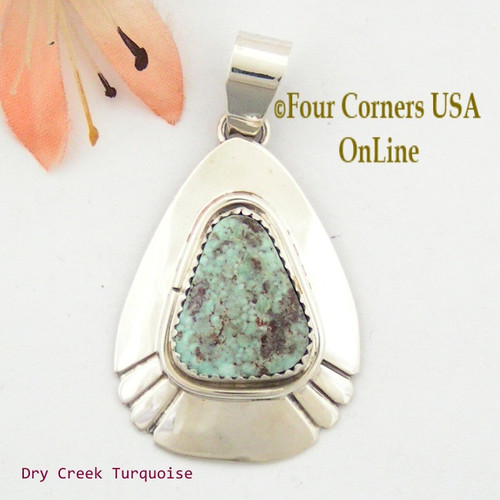 Teardrop Dry Creek Turquoise Sterling Pendant Navajo Artisan Alice Johnson NAP-1561 Four Corners USA OnLine Native American Jewelry
