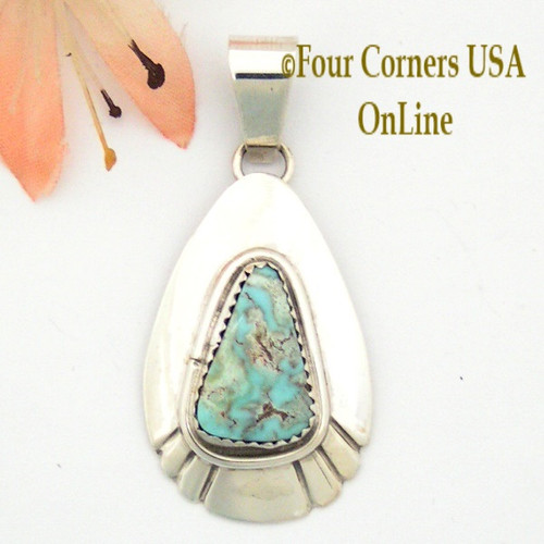 Teardrop Dry Creek Turquoise Sterling Pendant Navajo Artisan Alice Johnson NAP-1582 Four Corners USA Online Native American Jewelry
