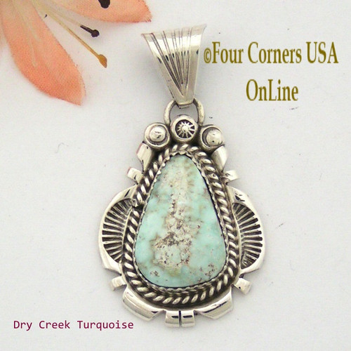 Dry Creek Turquoise Sterling Pendant Navajo Artisan Harry Spencer NAP-1546 Four Corners USA OnLine Native American Jewelry