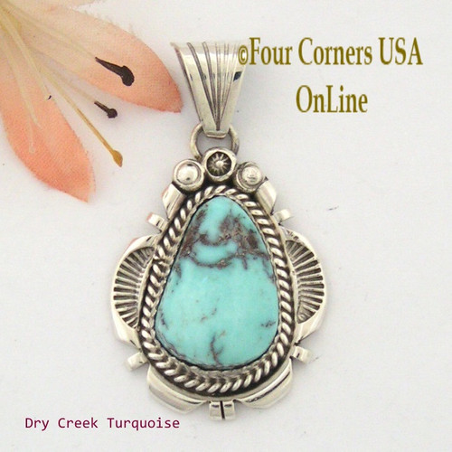Dry Creek Turquoise Sterling Pendant Navajo Artisan Harry Spencer NAP-1547 Four Corners USA OnLine Native American Jewelry