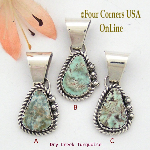 Petite Dry Creek Turquoise Sterling Pendant Navajo Artisan Alice Johnson NAP-1570 Four Corners USA OnLine Native American Jewelry
