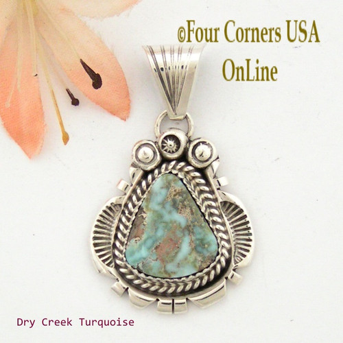 Dry Creek Turquoise Sterling Pendant Navajo Artisan Harry Spencer NAP-1550 Four Corners USA OnLine Native American Jewelry