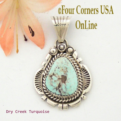 Dry Creek Turquoise Sterling Pendant Navajo Artisan Harry Spencer NAP-1551 Four Corners USA OnLine Native American Jewelry