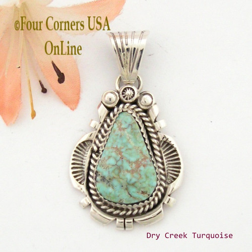 Dry Creek Turquoise Sterling Pendant Navajo Artisan Harry Spencer NAP-1552 Four Corners USA OnLine Native American Jewelry