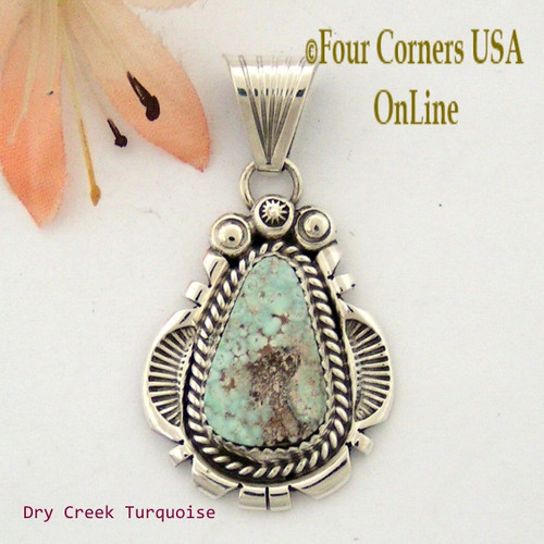 Dry Creek Turquoise Sterling Pendant Navajo Artisan Harry Spencer NAP-1555 Four Corners USA OnLine Native American Jewelry