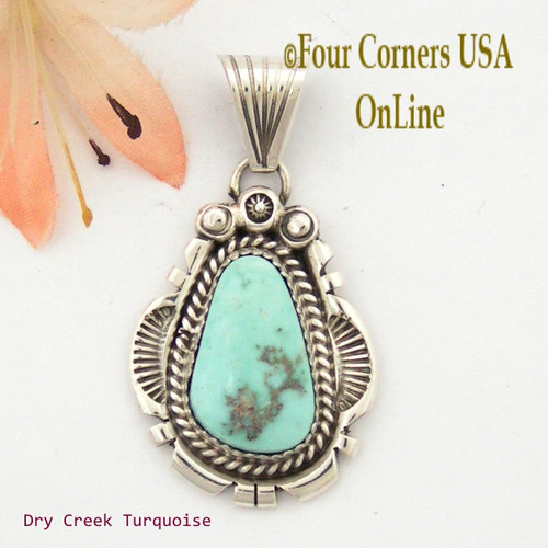 Dry Creek Turquoise Sterling Pendant Navajo Artisan Harry Spencer NAP-1556 Four Corners USA OnLine Native American Jewelry