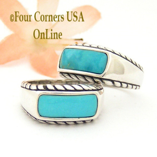 Sizes 7 To 9 Turquoise Sterling Silver Ring Southwestern Design Jewelry FCR-1491 Closeout Final Sale Four Corners USA OnLine