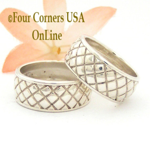 Sizes 7 and 8 Cross Hatch Wide Band Sterling Silver Ring Southwest Spirit Collection FCR-1494 Closeout Final Sale