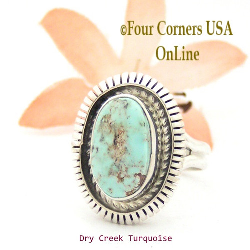 Size 6 3/4 Dry Creek Turquoise Sterling Ring Navajo Artisan Robert Concho Native American Jewelry NAR-1652 Four Corners USA OnLine