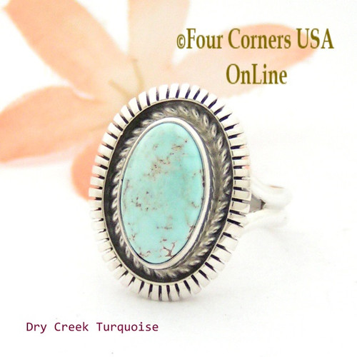Size 7 3/4 Dry Creek Turquoise Sterling Ring Navajo Artisan Robert Concho Native American Jewelry NAR-1653 Four Corners USA OnLine