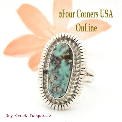 On Sale Now Size 7 Dry Creek Turquoise Sterling Ring Navajo Artisan Robert Concho Native American Jewelry NAR-1654 Four Corners USA OnLine
