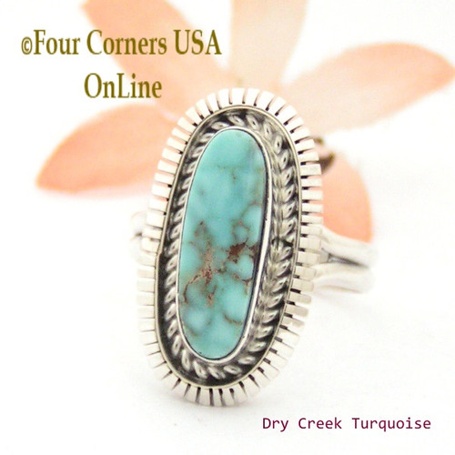 Size 9 Dry Creek Turquoise Sterling Ring Navajo Artisan Robert Concho Native American Jewelry NAR-1655 Four Corners USA OnLine