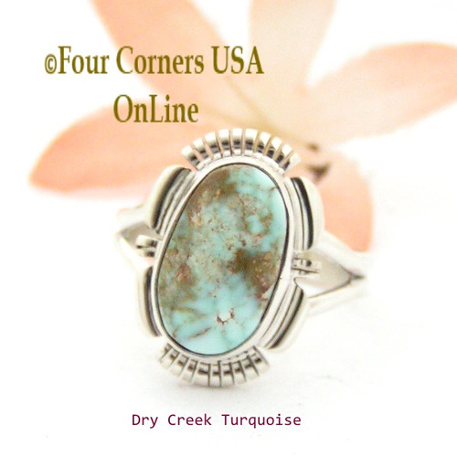 On Sale Now Size 8 1/4 Dry Creek Turquoise Sterling Ring Navajo Artisan Larry Moses Yazzie Native American Jewelry NAR-1664 Four Corners USA OnLine
