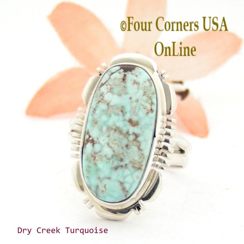 On Sale Now Size 7 Dry Creek Turquoise Sterling Ring Navajo Artisan Jane Francisco Native American Jewelry NAR-1666 Four Corners USA OnLine