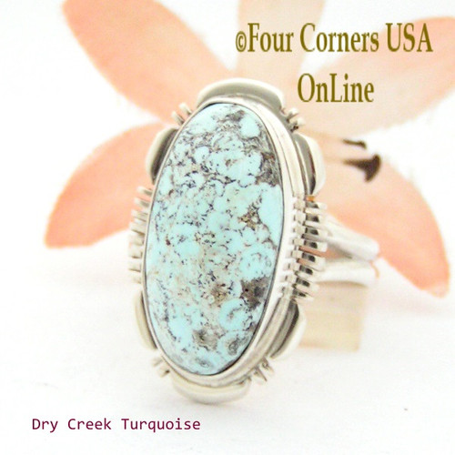 On Sale Now Size 8 Dry Creek Turquoise Sterling Ring Navajo Artisan Jane Francisco Native American Jewelry NAR-1669 Four Corners USA OnLine