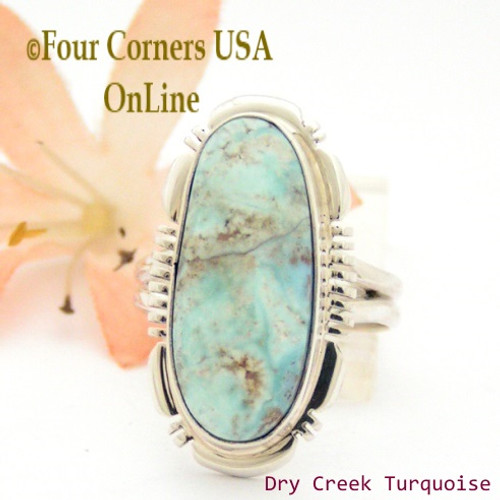 Size 8 Dry Creek Turquoise Sterling Ring Navajo Artisan Jane Francisco NAR-1671 Four Corners USA Online Native American Jewelry