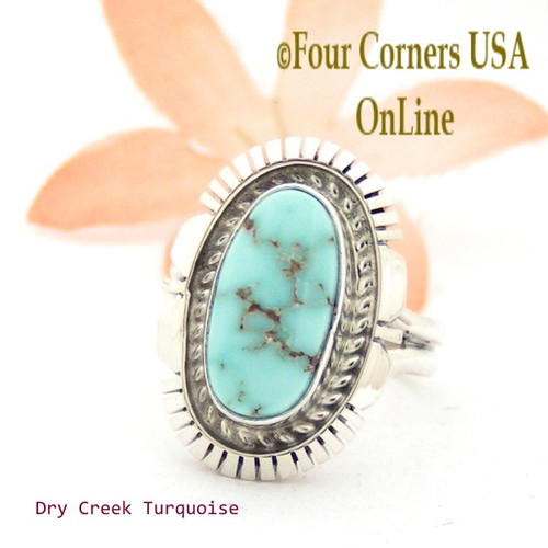 Size 7 Dry Creek Turquoise Sterling Ring Navajo Artisan Robert Concho Native American Jewelry NAR-1675 Four Corners USA OnLine