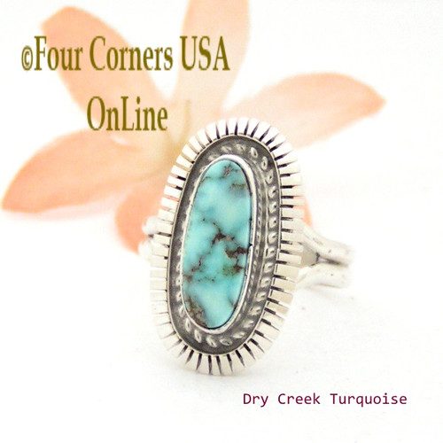 On Sale Now Size 8 Dry Creek Turquoise Sterling Ring Navajo Artisan Robert Concho Native American Jewelry NAR-1679 Four Corners USA OnLine