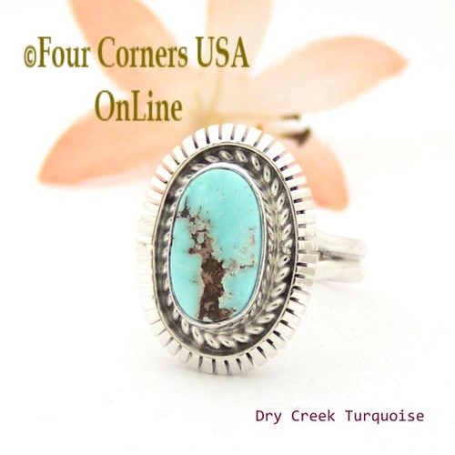 Size 9 Dry Creek Turquoise Sterling Ring Navajo Artisan Robert Concho Native American Jewelry On Sale Now! NAR-1680 Four Corners USA OnLine
