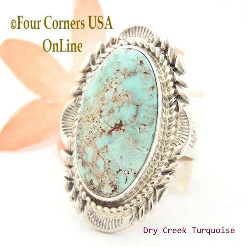 Size 9 1/4 Dry Creek Turquoise Large Stone Ring Thomas Francisco Navajo Silver Jewelry NAR-1681 Four Corners USA OnLine
