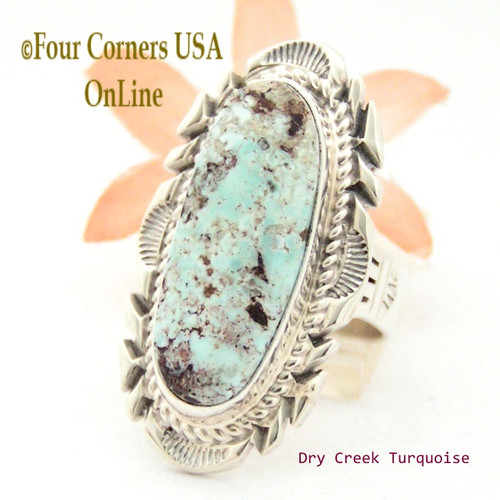 Size 9 1/4 Dry Creek Turquoise Large Stone Ring Thomas Francisco Navajo Silver Jewelry NAR-1685 Four Corners USA OnLine