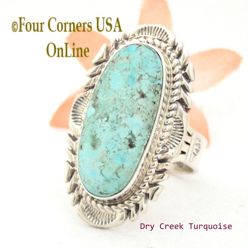 Size 9 Dry Creek Turquoise Large Stone Ring Thomas Francisco Navajo Silver Jewelry NAR-1686 Four Corners USA OnLine