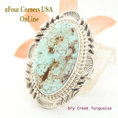 On Sale Now Size 8 3/4 Dry Creek Turquoise Large Stone Ring Thomas Francisco Navajo Silver Jewelry NAR-1687 Four Corners USA OnLine