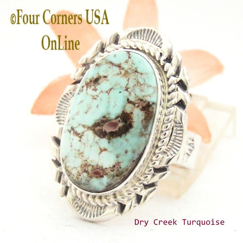 On Sale Now! Size 9 Dry Creek Turquoise Large Stone Ring Thomas Francisco Navajo Silver Jewelry NAR-1688 Four Corners USA OnLine