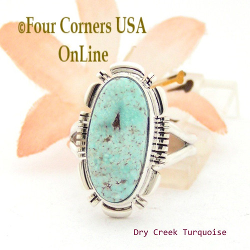 Size 7 3/4 Dry Creek Turquoise Sterling Ring Navajo Artisan Larry Moses Yazzie NAR-1693 Four Corners USA OnLine Native American Jewelry