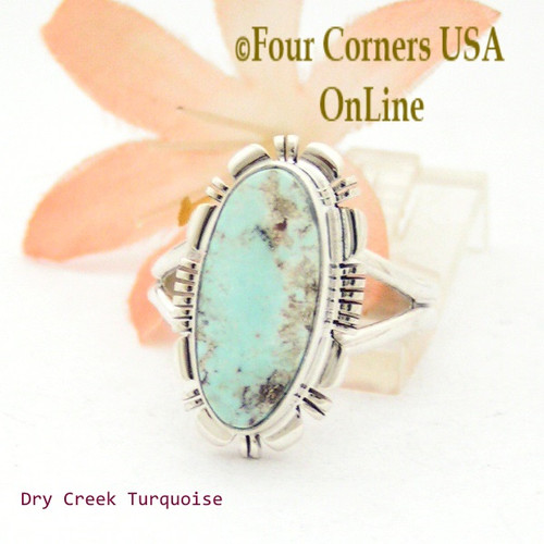 Size 8 1/2 Dry Creek Turquoise Sterling Ring Navajo Artisan Larry Moses Yazzie NAR-1695 Four Corners USA OnLine Native American Jewelry