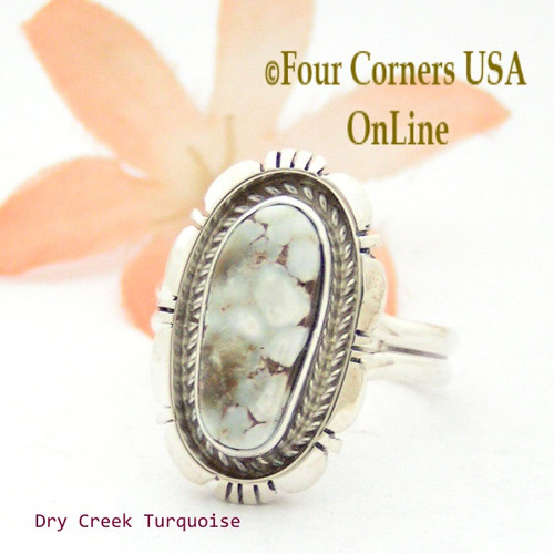 On Sale Now Size 8 Dry Creek Turquoise Sterling Ring Navajo Artisan Robert Concho NAR-1698 Four Corners USA OnLine Native American Jewelry