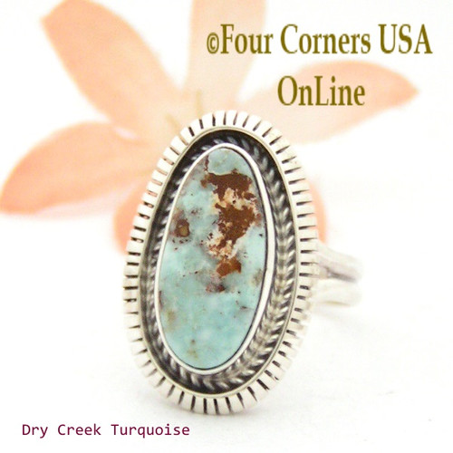 On Sale Now Size 7 1/4 Dry Creek Turquoise Sterling Ring Navajo Artisan Robert Concho NAR-1701 Four Corners USA OnLine Native American Jewelry