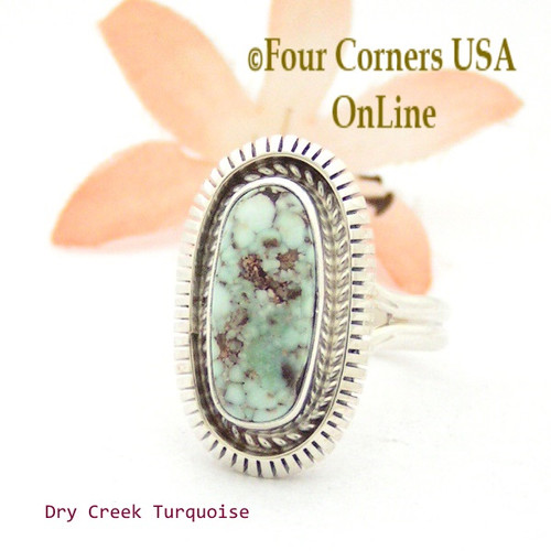 On Sale Now Size 8 Dry Creek Turquoise Sterling Ring Navajo Artisan Robert Concho NAR-1702 Four Corners USA OnLine Native American Jewelry