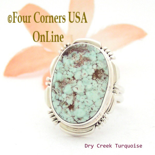 Size 7 Dry Creek Turquoise Sterling Ring Navajo Artisan Jane Francisco NAR-1704 Four Corners USA OnLine Native American Jewelry