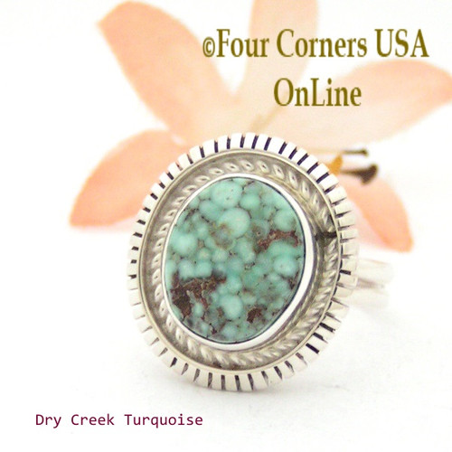On Sale Now Size 8 Dry Creek Turquoise Sterling Ring Navajo Artisan Robert Concho NAR-1705 Four Corners USA OnLine Native American Jewelry