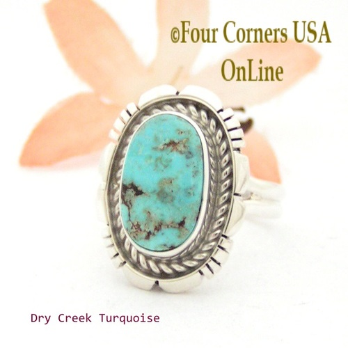 On Sale Now Size 8 Dry Creek Turquoise Sterling Ring Navajo Artisan Robert Concho NAR-1706 Four Corners USA OnLine Native American Jewelry