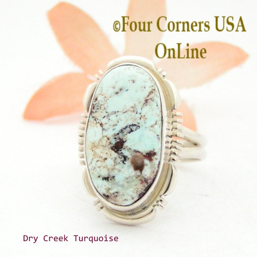 Size 9 Dry Creek Turquoise Sterling Ring Navajo Artisan Jane Francisco NAR-1708 Four Corners USA OnLine Native American Jewelry