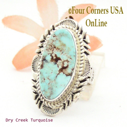 Size 7 3/4 Dry Creek Turquoise Large Stone Ring Navajo Artisan Thomas Francisco NAR-1709 Four Corners USA OnLine