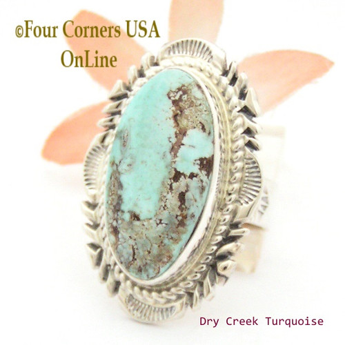 Size 7 3/4 Dry Creek Turquoise Large Stone Ring Navajo Artisan Thomas Francisco NAR-1710 Four Corners USA OnLine