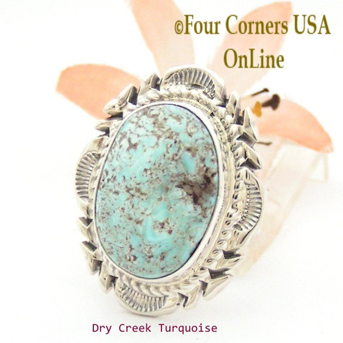 On Sale Now Size 8 1/2 Dry Creek Turquoise Large Stone Ring Navajo Artisan Thomas Francisco NAR-1711 Four Corners USA OnLine