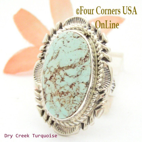 Size 9 Dry Creek Turquoise Large Stone Ring Navajo Artisan Thomas Francisco NAR-1712 Four Corners USA OnLine