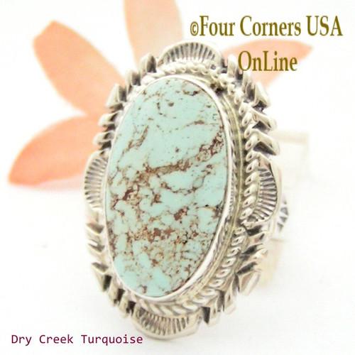 Size 9 Dry Creek Turquoise Large Stone Ring Navajo Artisan Thomas Francisco On Sale Now! NAR-1712 Four Corners USA OnLine