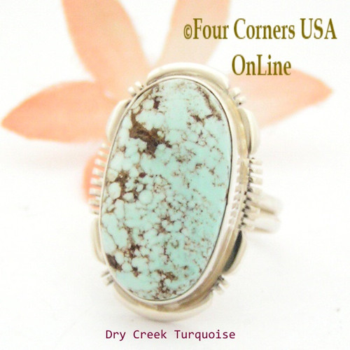 Size 9 Dry Creek Turquoise Sterling Ring Navajo Artisan Jane Francisco NAR-1714 Four Corners USA OnLine Native American Jewelry