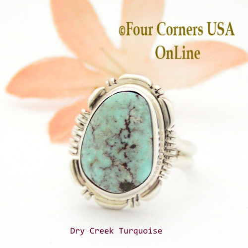 On Sale Now Size 7 Dry Creek Turquoise Sterling Ring Navajo Artisan Robert Concho NAR-1715 Four Corners USA OnLine Native American Jewelry