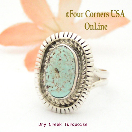Size 7 3/4 Dry Creek Turquoise Sterling Ring Navajo Artisan Robert Concho NAR-1716 Four Corners USA OnLine Native American Jewelry