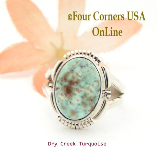 Size 7 Dry Creek Turquoise Sterling Ring Navajo Artisan Jane Francisco NAR-1717 Four Corners USA OnLine Native American Jewelry