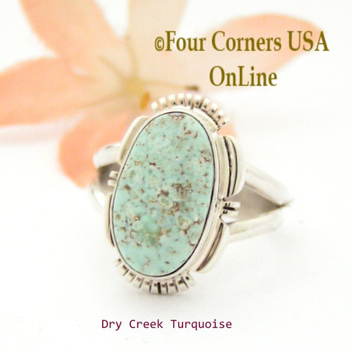 Size 7 1/4 Dry Creek Turquoise Sterling Ring Navajo Artisan Jane Francisco NAR-1718 Four Corners USA OnLine Native American Jewelry