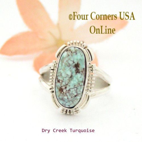 Size 8 Dry Creek Turquoise Sterling Ring Navajo Artisan Jane Francisco NAR-1722 Four Corners USA OnLine Native American Jewelry