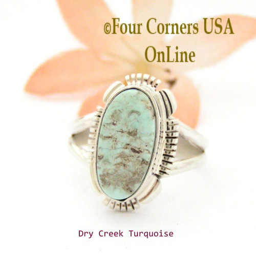 Size 8 3/4 Dry Creek Turquoise Sterling Ring Navajo Artisan Jane Francisco NAR-1726 Four Corners USA OnLine Native American Jewelry